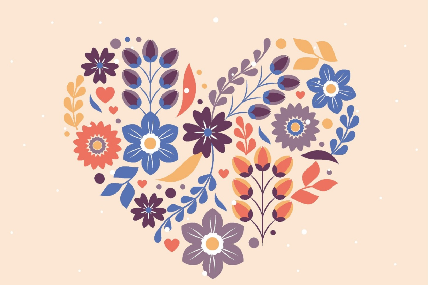 Heart Of Flowers Wallpaper Mural