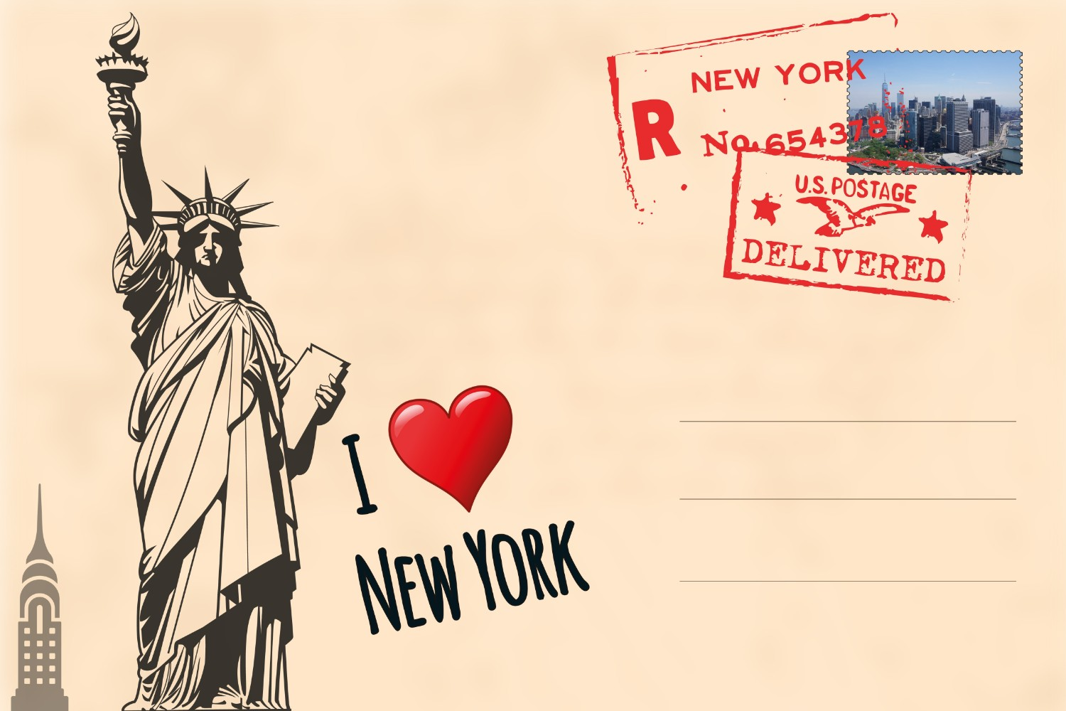 New York Postcard Wallpaper Mural