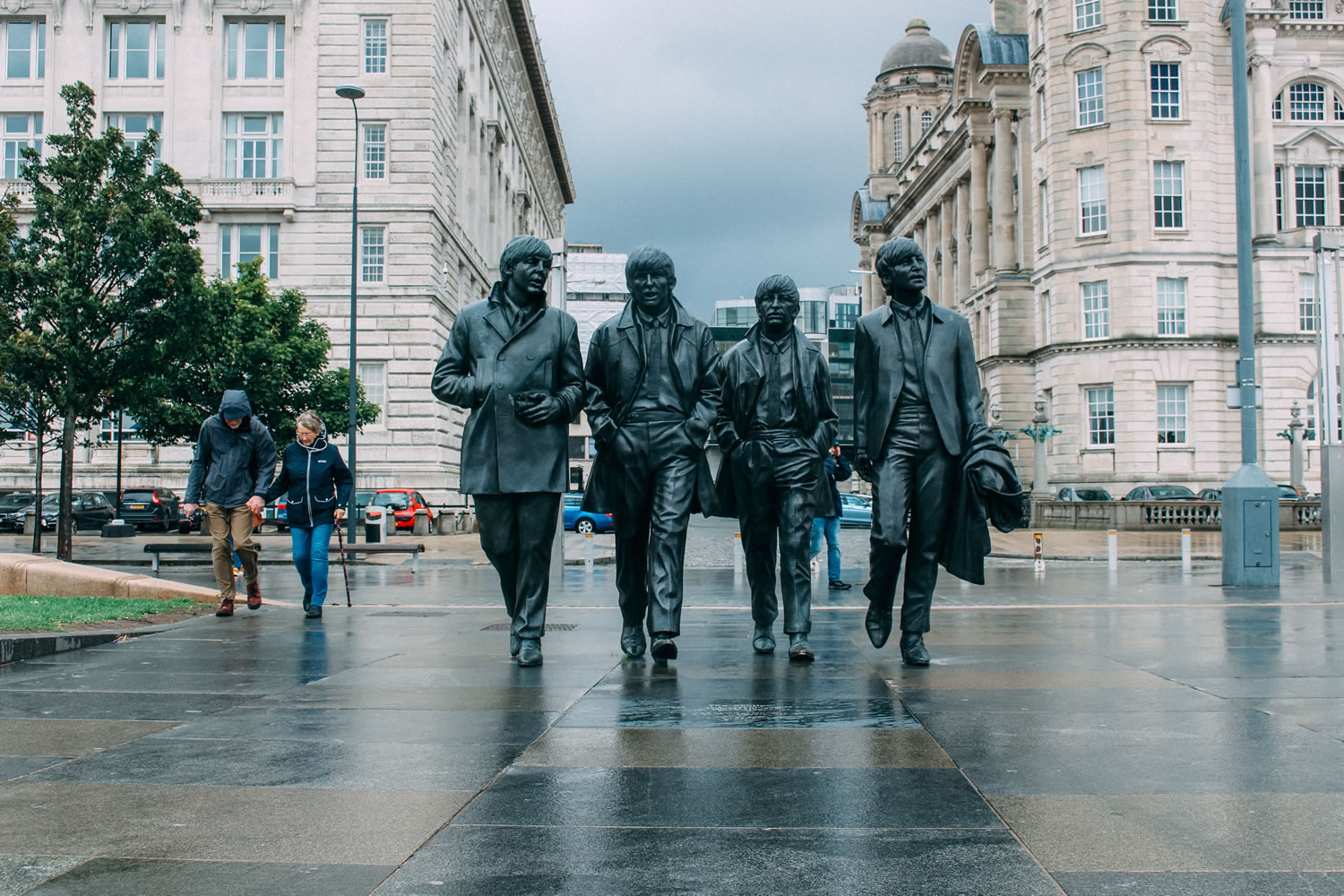 The Beatles Statue Wallpaper Mural