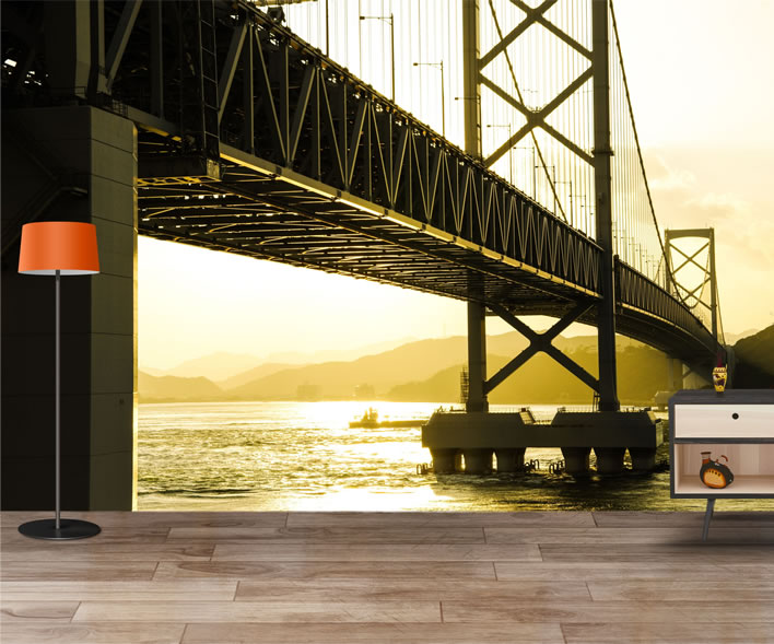 Bridge At Sunset Wallpaper Mural