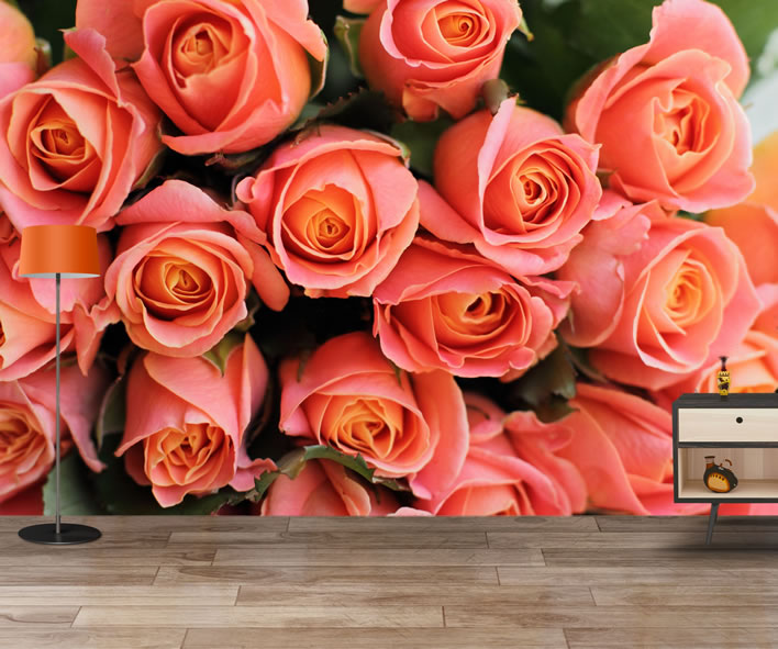 Bunch Of Pink Roses Wallpaper Mural