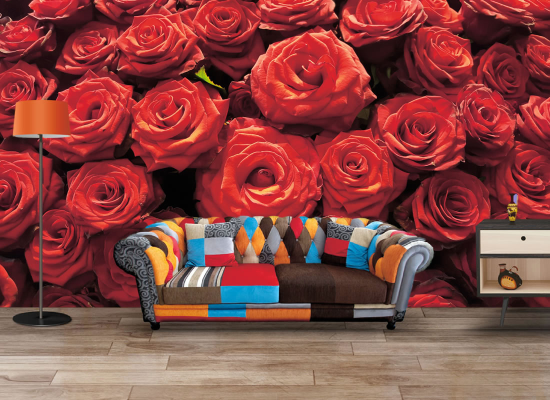 Bundle Of Red Roses Wallpaper Mural